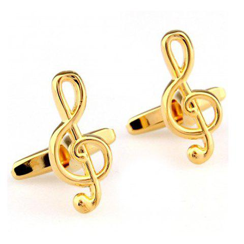 Pair of Chic Musical Note Shape Men's Alloy Cufflinks - GOLDEN