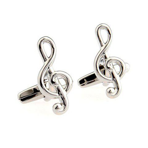 Pair of Chic Solid Color Musical Note Shape Men's Alloy Cufflinks - SILVER