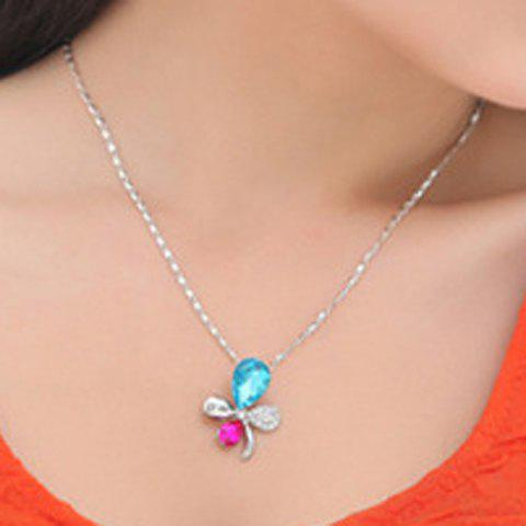Sweet Delicate Women's Colored Rhinestone Butterfly Flower Pendant Necklace - COLOR ASSORTED