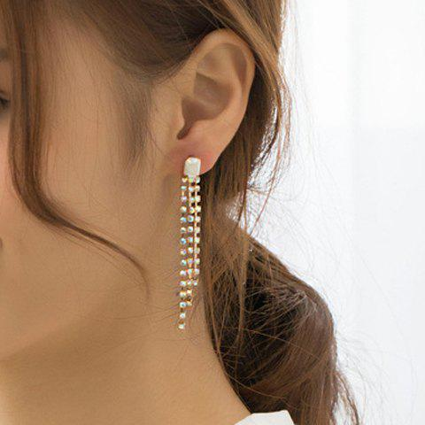 Pair of Chic Stylish Women's Colored Rhinestone Tassel Earrings - COLOR ASSORTED