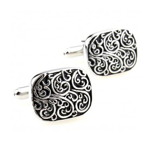Pair of Retro Style Stereo Carve Design Alloy Cufflinks For Men - SILVER