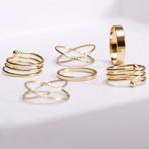 6PCS of Stylish Chic Women's Round Solid Color Rings - GOLDEN ONE-SIZE