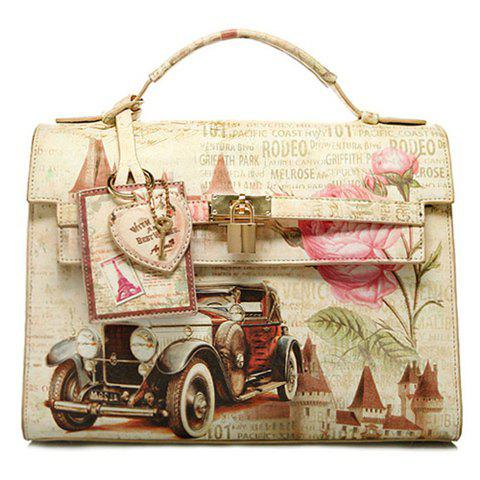 Retro Lock and Floral Print Design Tote Bag For Women - COLORMIX