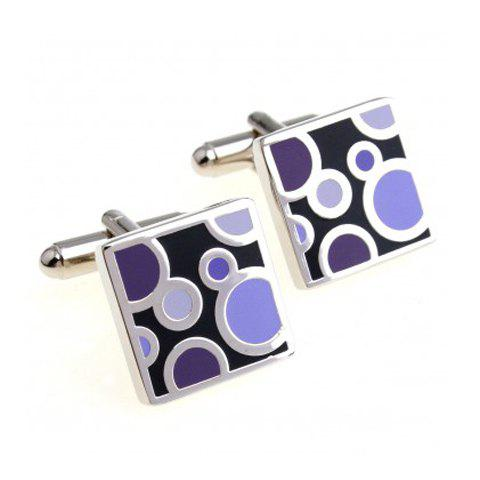 Pair of Chic Bubble Design Square Shape Men's Alloy Cufflinks - PURPLE