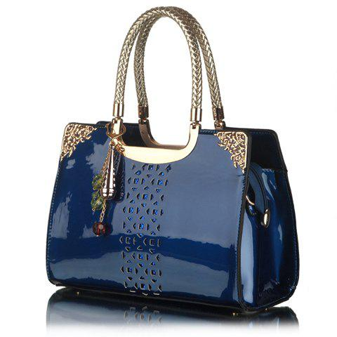 Trendy Openwork and Pandent Design Patent Leather Tote Bag For Women - SAPPHIRE BLUE