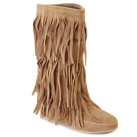 Sweet Round Toe and Fringe Design Mid-Calf Boots For Women - LIGHT BROWN 39