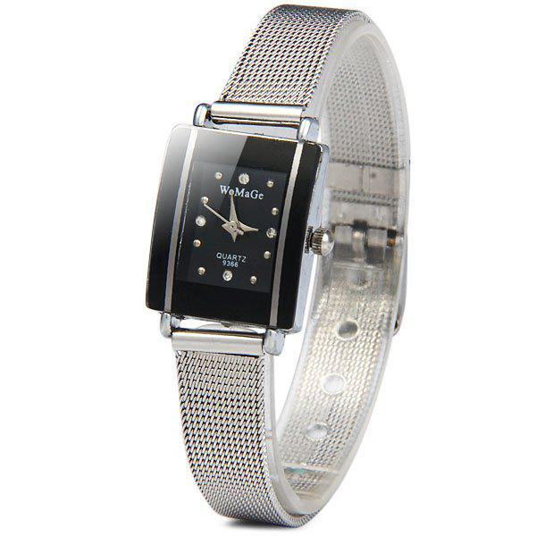 WoMaGe 9366 Female Quartz Watch Rectangle Dial Steel Net Band - BLACK