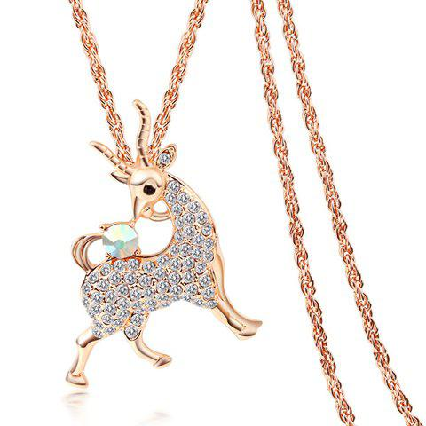 Trendy Diamante Cartoon Goat Pendant Necklace For Women - COLOR ASSORTED