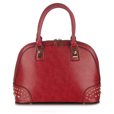 Gorgeous Zipper and Rivets Design Tote Bag For Women - RED