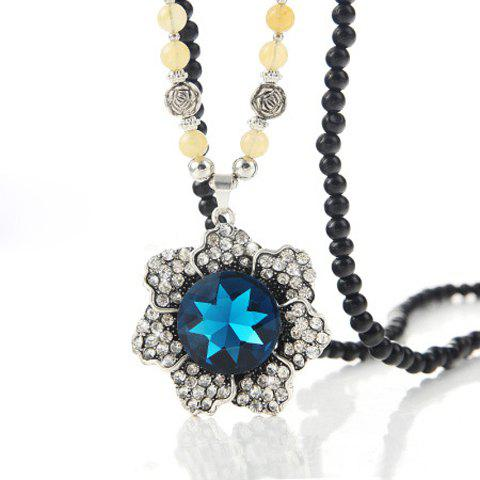 Chic Women's Rhinestone Beads Flower Pendant Designed Sweater Chain Necklace