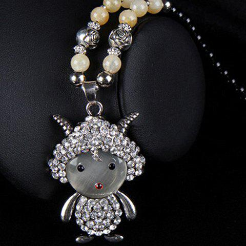 Classic Women's Rhinestone Faux Opal Sheep Pendant Designed Sweater Chain Necklace -  COLORMIX
