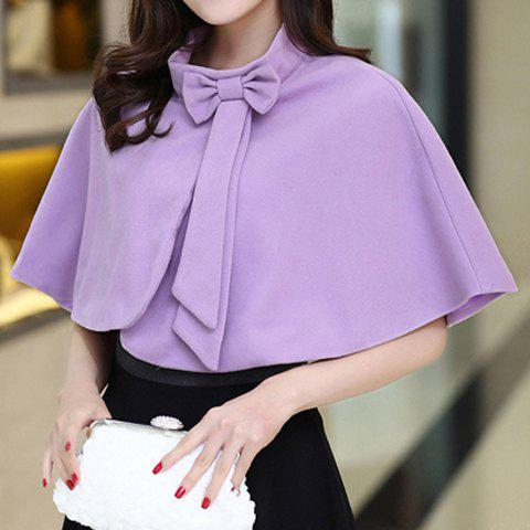 Sweet Women's Stand Collar Solid Color Bowknot Capelet - VIOLET L