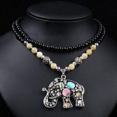 Chic Women's Rhinestone Faux Opal Elephant Pendant Designed Sweater Chain Necklace - COLORMIX
