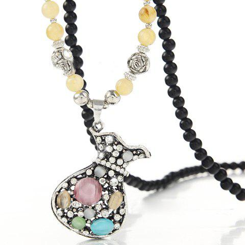 Stylish Women's Rhinestone Faux Opal Wallet Pendant Designed Sweater Chain Necklace - COLORMIX
