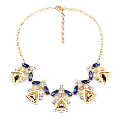 Rhinestoned Triangle Pendant Necklace - AS THE PICTURE