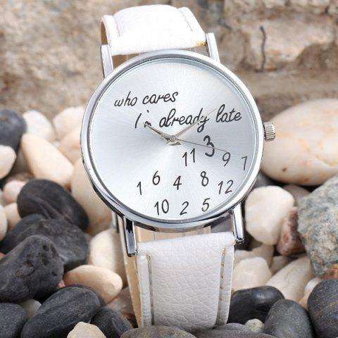 Words and Numbers Dial Leather Band Lady Quartz Wrist Watch - WHITE