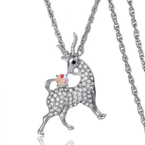 Chic Rhinestone Embellished Sheep Shape Women's Sweater Chain Necklace - SILVER