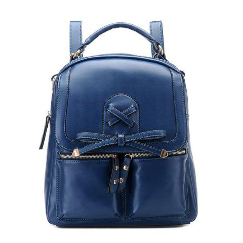 Fashionable Bow and Criss-Cross Design Satchel For Women - BLUE
