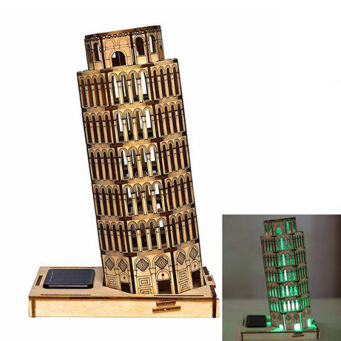 Assembly Leaning Tower DIY Colored Drawing and Automatic Solar Light Sensation - AS THE PICTURE