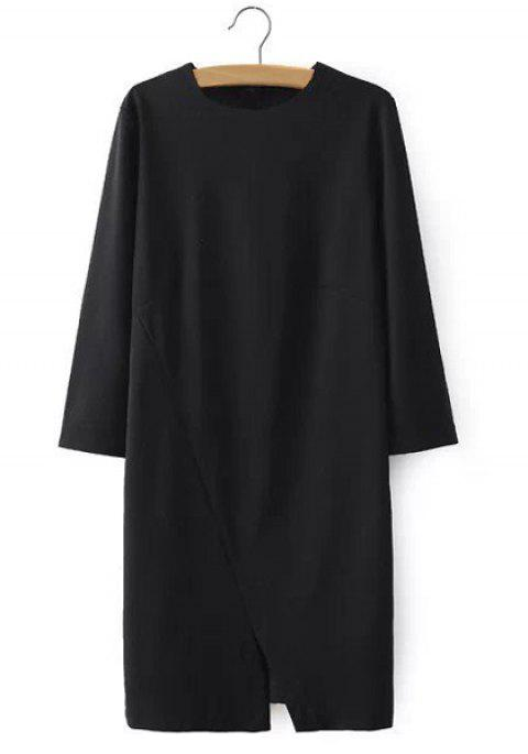 Round Neck Solid Color Slit Casual Style 3/4 Sleeve Dress For Women - BLACK L