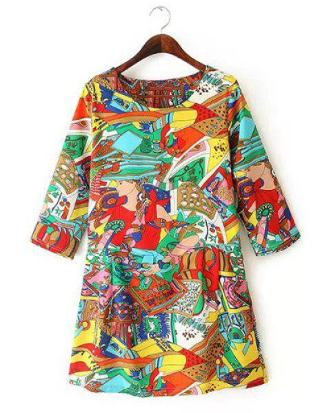 Jewel Neck Cartoon Print Casual Style 3/4 Sleeve Dress For Women - COLORMIX M