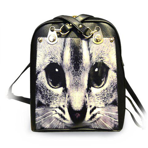 Stylish PU Leather and Print Design Satchel For Women - WHITE