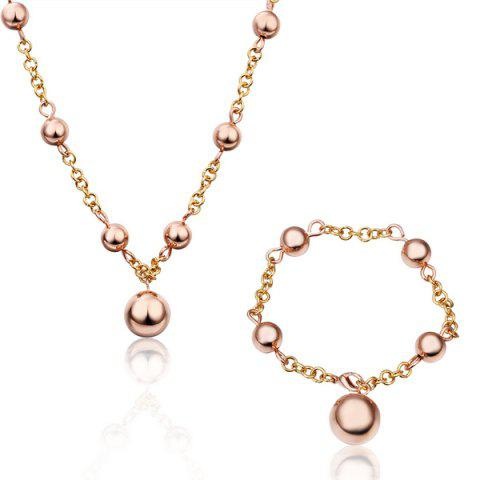 A Suit of Delicate Fresh Women's Beads Solid Color Necklace And Bracelet - ROSE GOLD