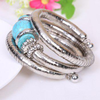 Simple Style Kallaite Embellished Multi-Layer Coiler Bracelet - SILVER/BLUE