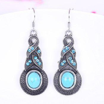 Pair of Diamante Calabash Pendant Earrings