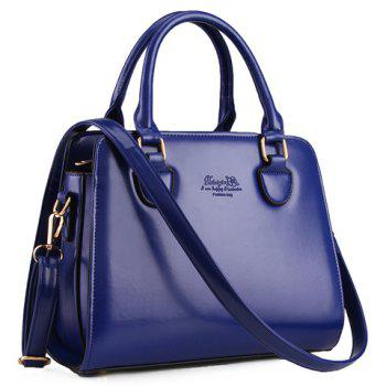 Elegant PU Leather and Solid Color Design Tote Bag For Women - BLUE BLUE