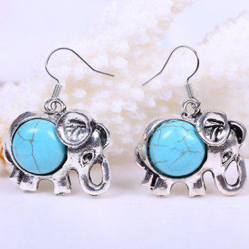 Pair of Faux Turquoise Elephant Design Drop Earrings