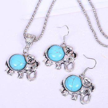 A Suit of Stylish Chic Women's Turquoise Elephant Necklace And Earrings