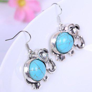A Suit of Stylish Chic Women's Turquoise Elephant Necklace And Earrings - WATER BLUE