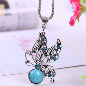 Chic Retro Women's Turquoise Rhinestone Openwork Butterfly Pendant Necklace