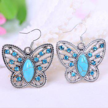 Pair of Chic Stylish Women's Turquoise Rhinestone Openwork Butterfly Pendant Earrings