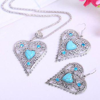 Chic Kallaite Decorated Openwork Heart Pendant Necklace and A Pair of  Earrings For Women