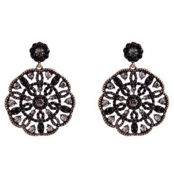 Pair of Chic Stylish Women's Rhinestone Openwork Flower Pendant Earrings