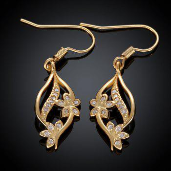 Pair of Sweet Cute Women's Gold Rhinestone Openwork Flower Pendant Earrings