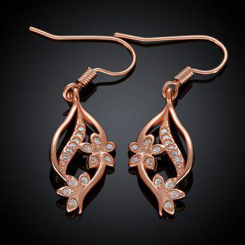 Pair of Sweet Cute Women's Rose Gold Rhinestone Openwork Flower Pendant Earrings