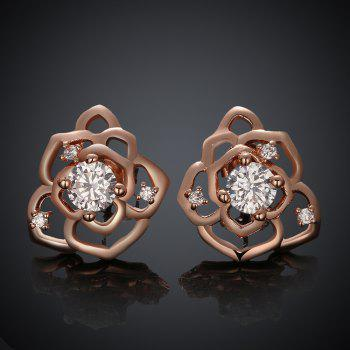 Pair of Sweet Chic Women's Rhinestone Embellished Openwork Flower Earrings
