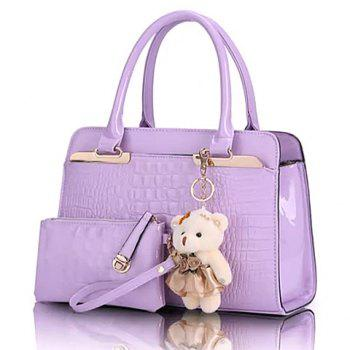 Fashionable Embossing and Bear Pendant Design Women's Tote Bag