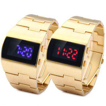 LED Sports Watch Digital Display Date Stainless Steel Body for Men