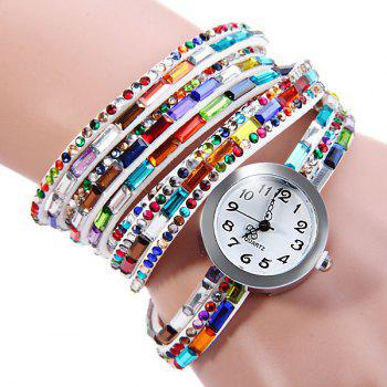 Colorful Diamond Quartz Watch Round Dial Long Strap for Ladies