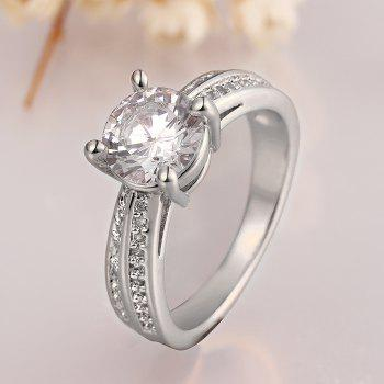 Alloy Plated Rhinestone Decorated Ring - PLATINUM US SIZE 8