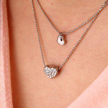 Chic Heart Shape Pendant Embellished Women's Double-Deck Necklace