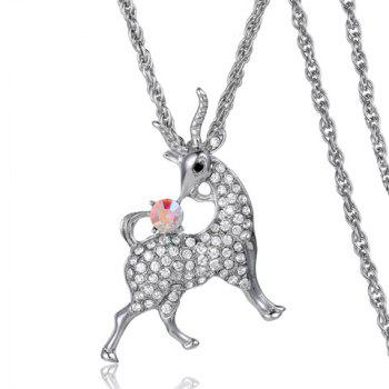 Chic Rhinestone Embellished Sheep Shape Women's Sweater Chain Necklace - SILVER SILVER