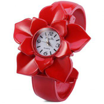 PengBa Female Quartz Bracelet Watch Flower Dial Alloy Watchband