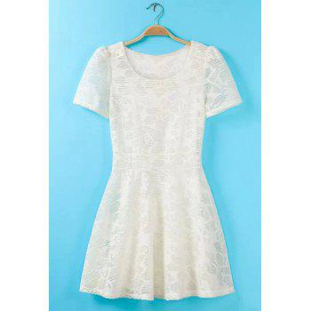 Scoop Neck Solid Color Lace Sweet Style Short Sleeve Dress For Women - WHITE WHITE