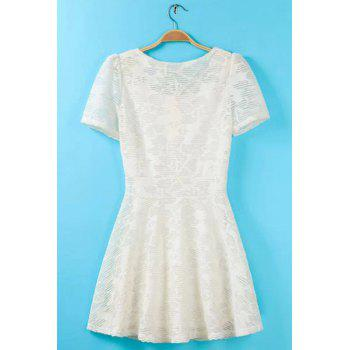 Scoop Neck Solid Color Lace Sweet Style Short Sleeve Dress For Women - WHITE M