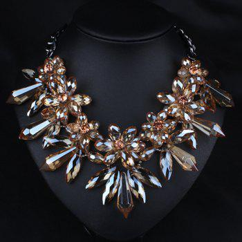Rhinestone Embellished Flower Necklace